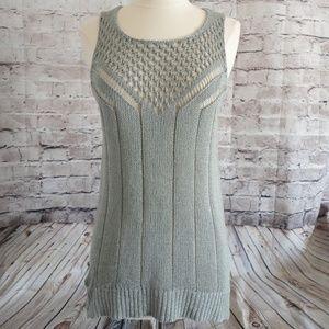 Michael Michael Kors Gray Crochet Sleeveless Top L